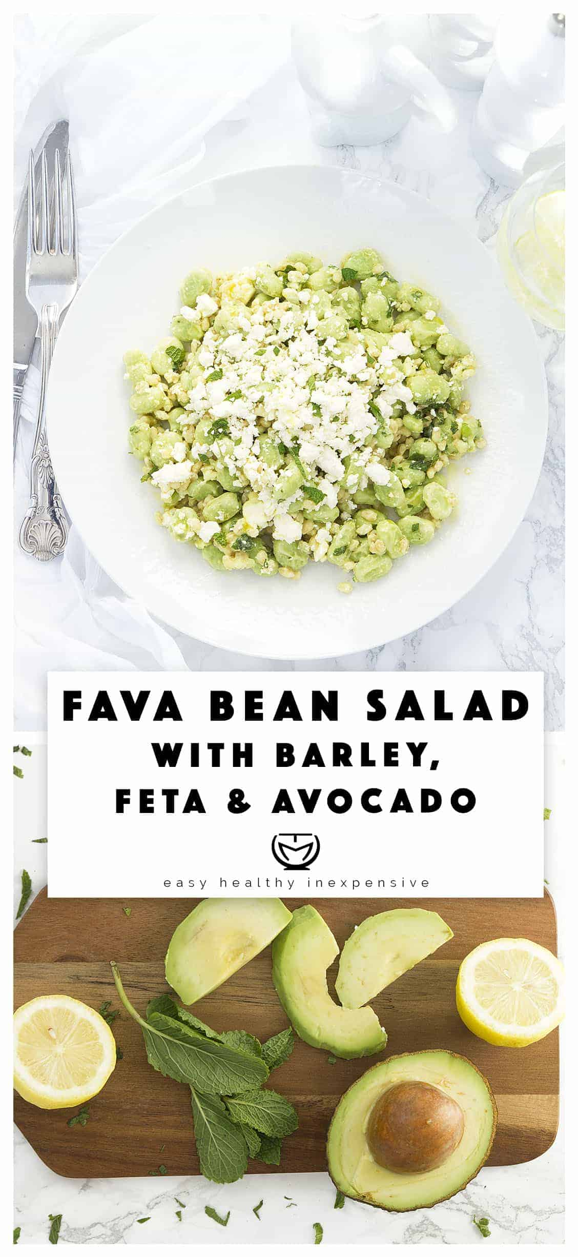 A refreshing, healthy and zesty fava bean salad with feta and mint.