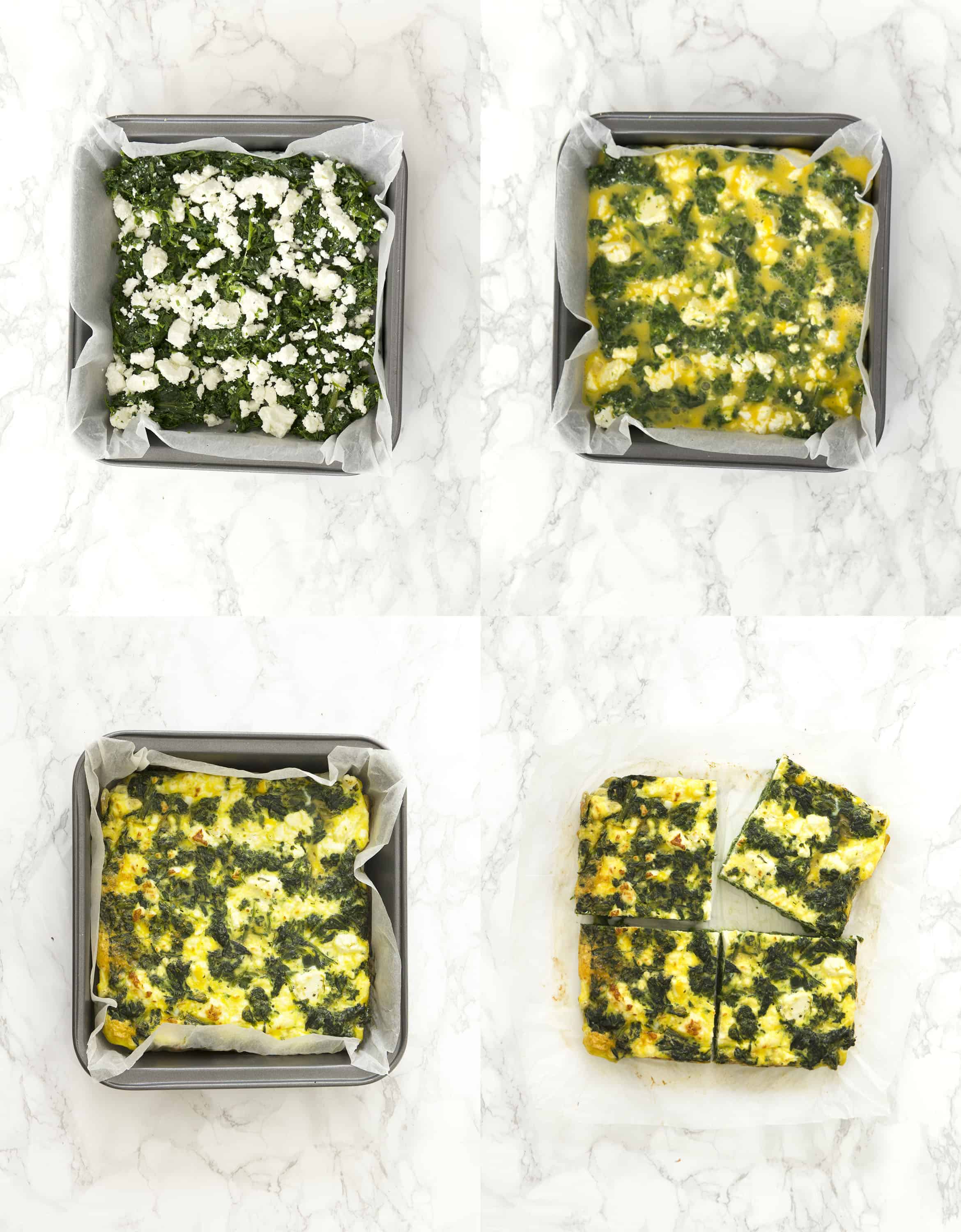 For different images show the baked frittata in a pan during different steps of baking.