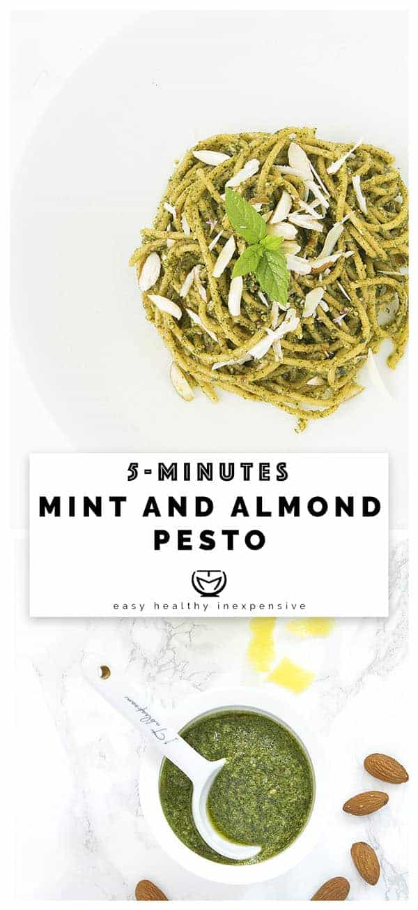 Quick and healthy mint and almond pesto ready in 5 minutes.