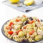 A speedy and tasty pasta salad packed with Mediterranean flavours, healthy and inexpensive.