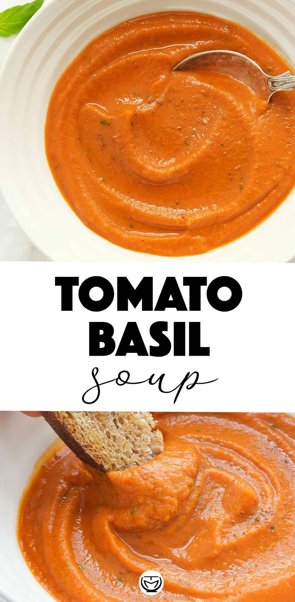 This delicious tomato basil soup is healthy, vegan, gluten free and so convenient.Super easy to make, inexpensive and ready in less than 30 minutes, this tomato soup is definitely a no brainer! #souprecipes #veganrecipes #tomatobasilsoup