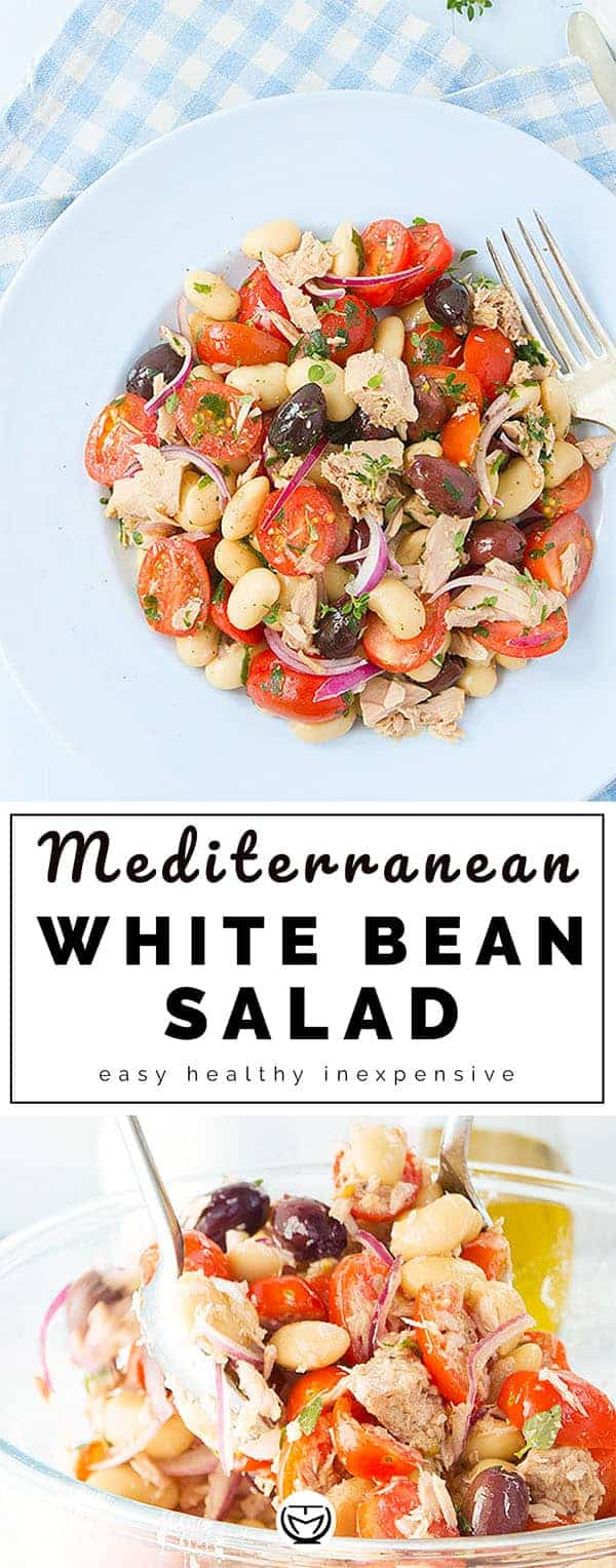This is a delicious and satisfying Mediterranean white bean salad with tomatoes and tuna. It's packed with flavors and protein, a perfect and inexpensive meal to whip up in no time!