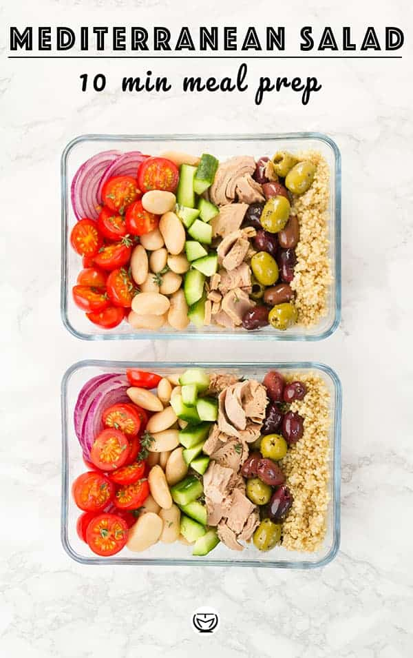 No time for cooking? Go for a tasty and super quick salad, packed with protein and full of Mediterranean flavors: it's super easy to prepare, healthy and inexpensive, a perfect last minute meal prep! #mealprep #healthymeals #salads #quickmeals