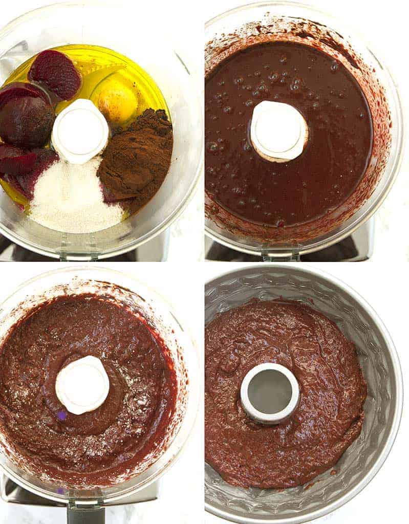 """All in one"" method"": blend the ingredients into a food processor and bake this chocolate cake with beets."