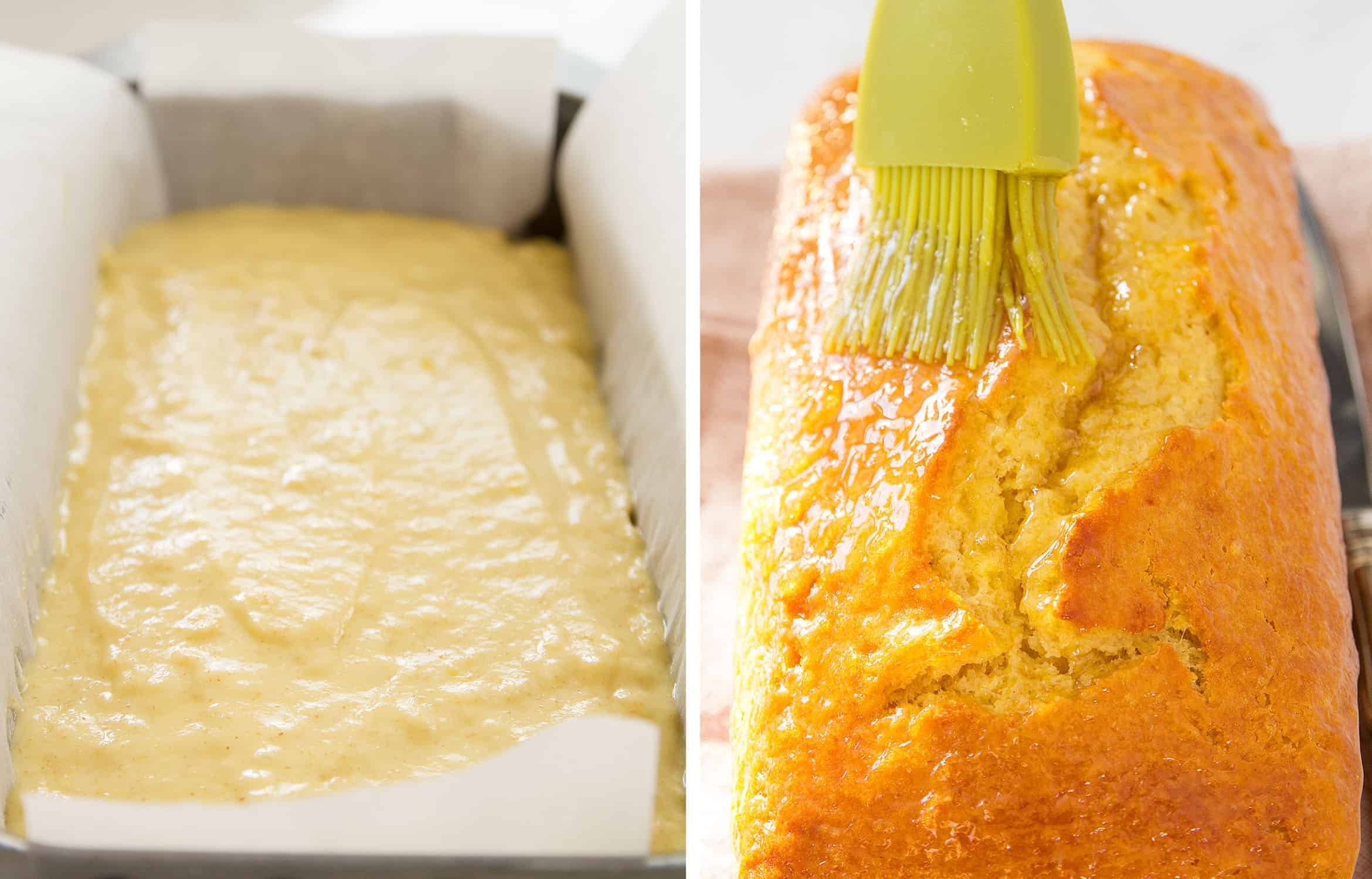 The yogurt cake batter in a loaf pan before and after baking.