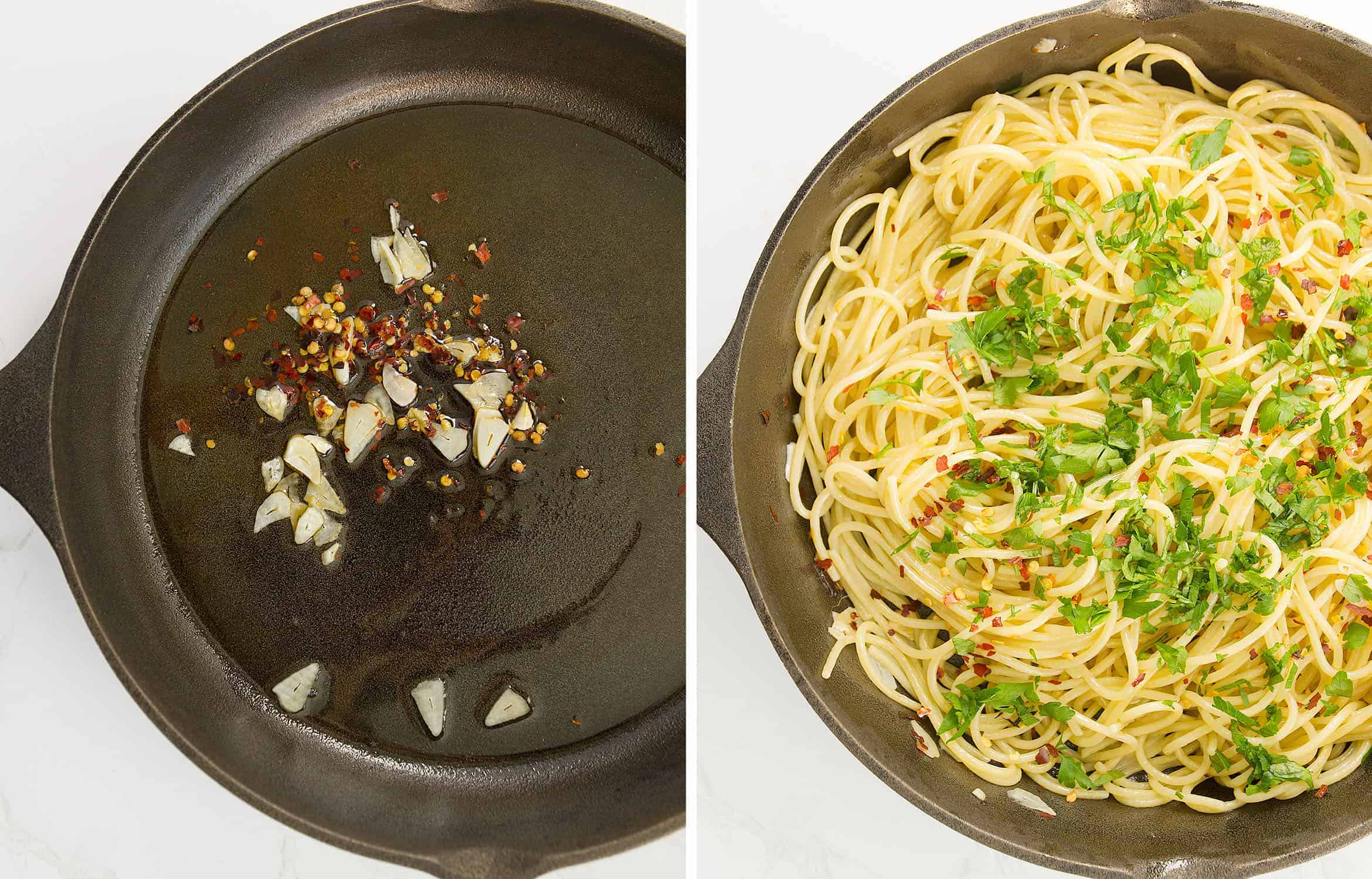 The first image shows olive oil, garlic and chili in a skillet. The second image shows the spaghetti in the same skillet.