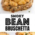 Smoked beans on toasts with thyme leaves over a white background.