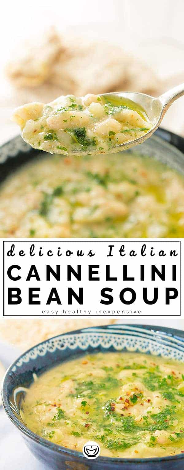 This is a spectacular Italian white bean soup with big bold flavors, I cook it the way my mum used to: loaded with garlic, parsley, chilli and good extra virgin olive oil. So hearty, comforting, it takes a few basic and inexpensive ingredients and it's ready in 20 minutes! #quickandeasydinnerrecipes #quickhealthydinner #cheapmeals #healthydinnerrecipes #beansoup
