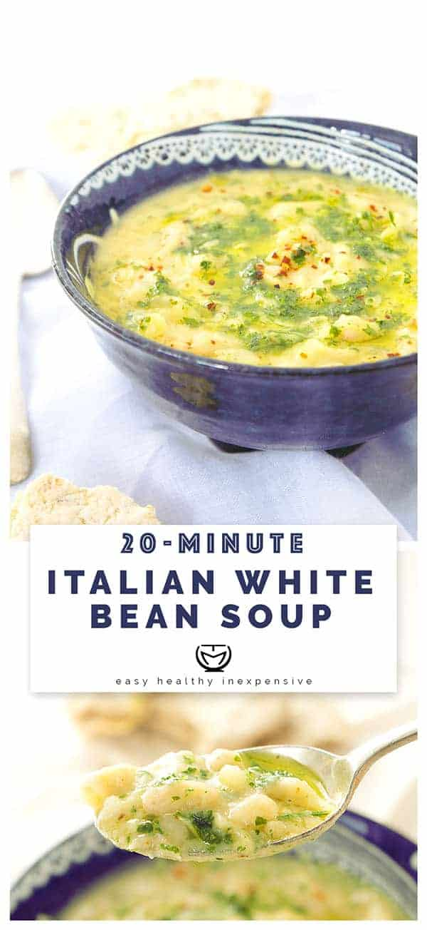 A flavorsome and garlicky Italian white bean soup ready in 20 minutes.