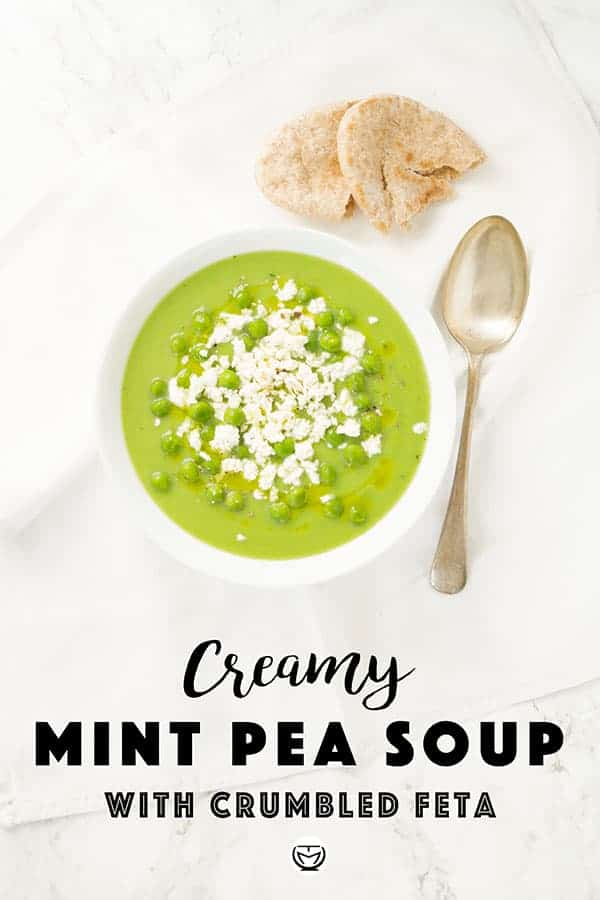 You've got nothing for dinner? Don't panic, if you have frozen peas, you'll be fine and this inexpensive, antioxidant and delicious soup topped with feta crumbles will be ready in 20 minutes. #peasoup #detoxsoup #quickeasydinner #cheapmeals