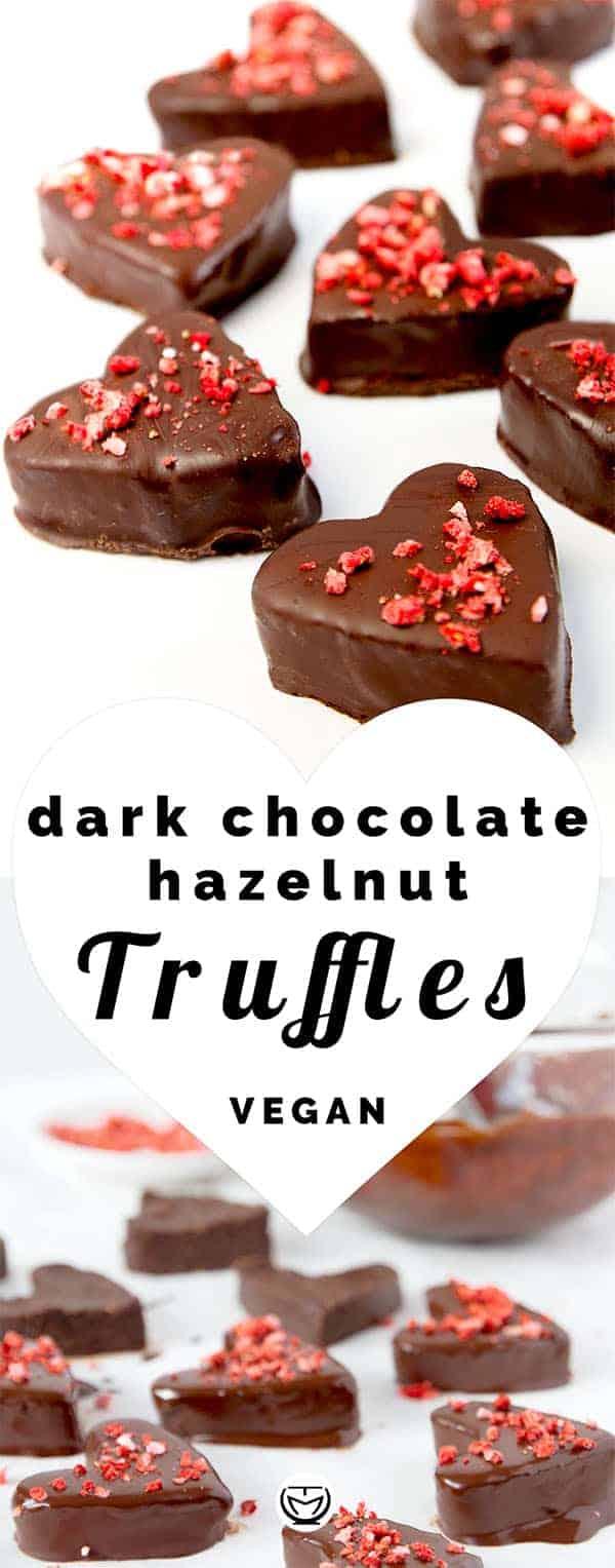 These vegan dark chocolate truffles with hazelnuts are the perfect melt in the mouth treat for San Valentine's day. They taste and look amazing, they are healthy, super easy to make and ready in 30 minutes. You will LOVE them. #sanvalentineideas #truffleseasy #vegan