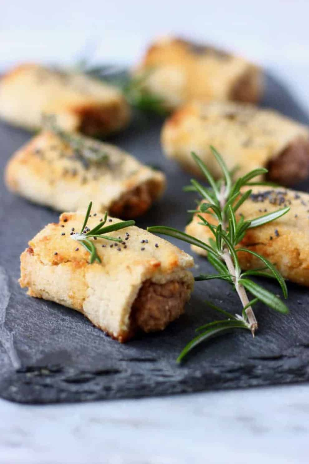 GLUTEN FREE VEGAN SAUSAGE ROLLS by Rhian's Recipes: These delicious and easy veganappetizers are what you'll need for your party. The most incredible, healthy and inexpensive party food perfect to please a crowd!