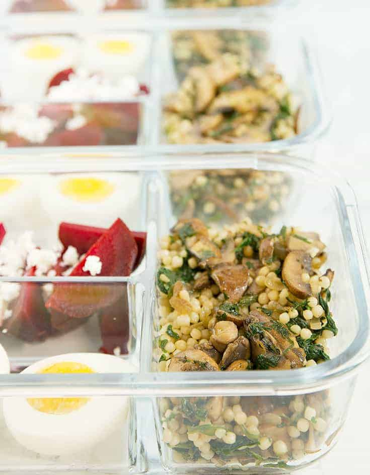 This mushroom couscous meal prep is a perfect and healthy lunch or dinner ready in 20 minutes.