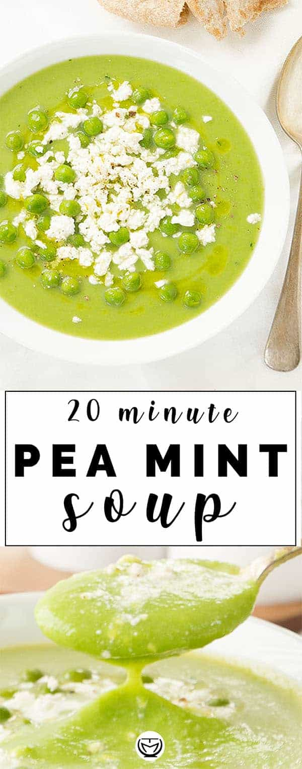 You've got nothing for dinner? Don't panic, if you have frozen peas, you'll be fine and this inexpensive, antioxidant and delicious pea and mint soup topped with feta crumbles will be ready in 20 minutes. #peasoup #detoxsoup #quickeasydinner #cheapmeals