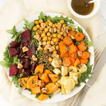 Bring color and deliciousness to your table with this amazing vegan roasted root vegetable salad that's bursting with color, texture, flavor, and nutrition.
