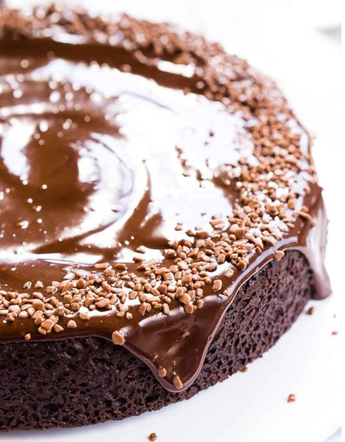 Close-up of a shiny vegan Chocolate cake over a white background - Sugar & Soul