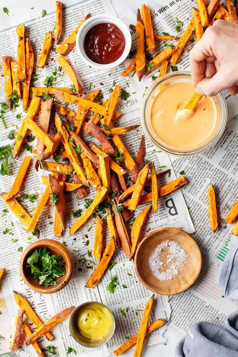 CRISPY BAKED SWEET POTATO FRIES by Love and Lemons: from a list of amazing vegan appetizers.
