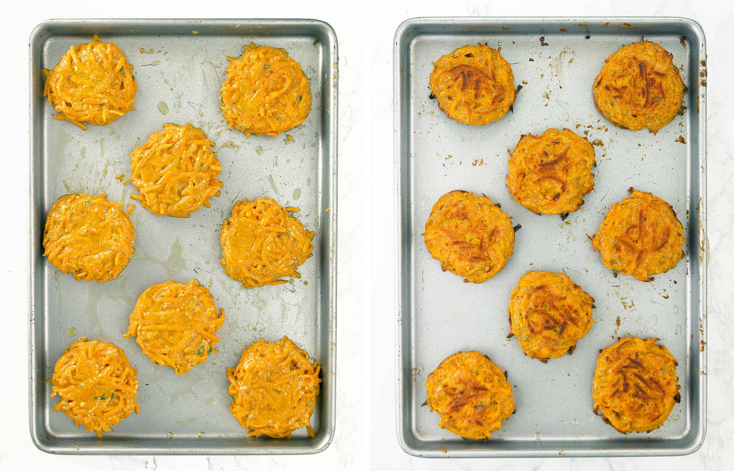 Top view of butternut squash fritters on a baking pan.