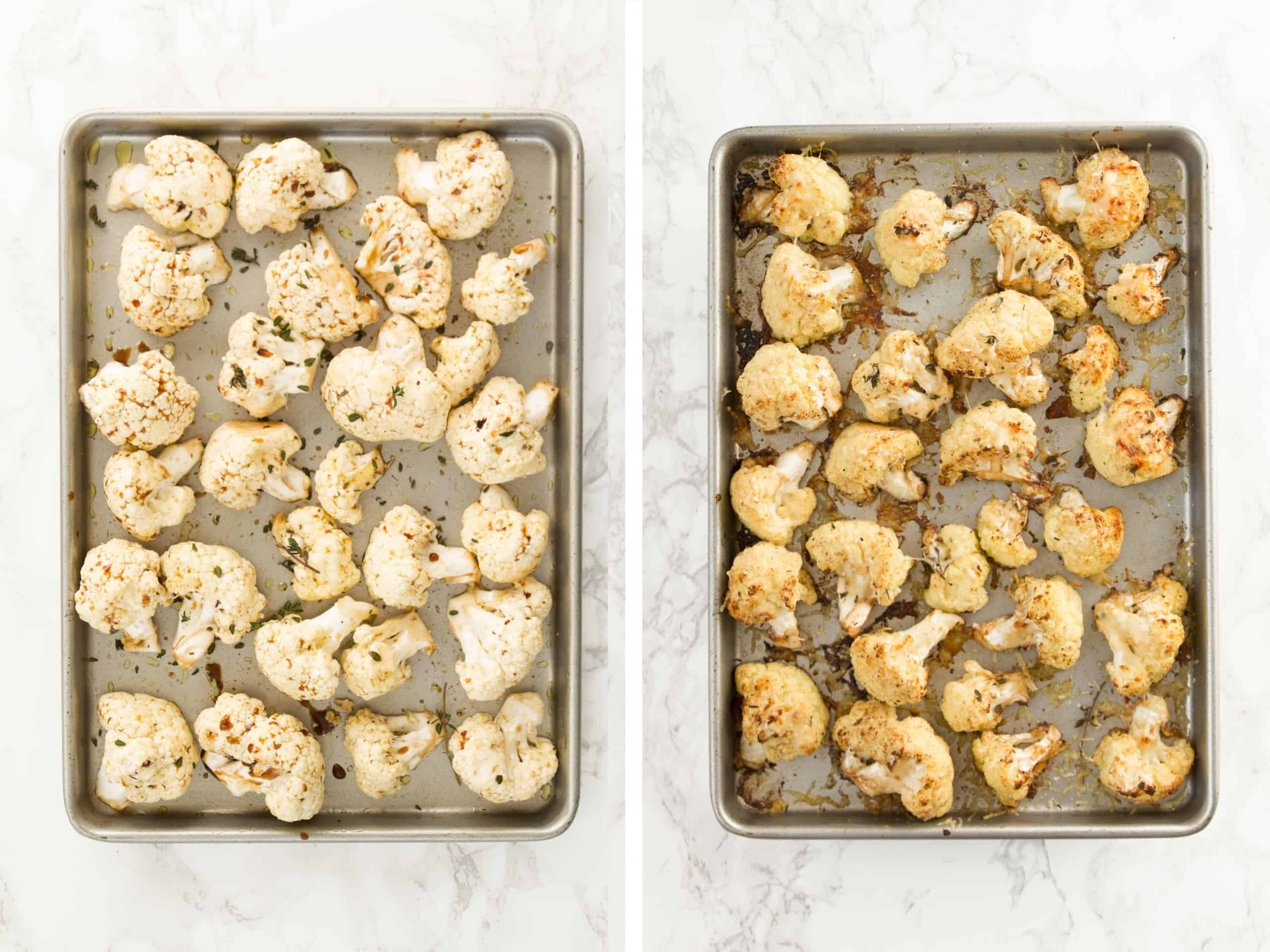 Balsamic cauliflower florets arranged over a baking pan, before and after baking.