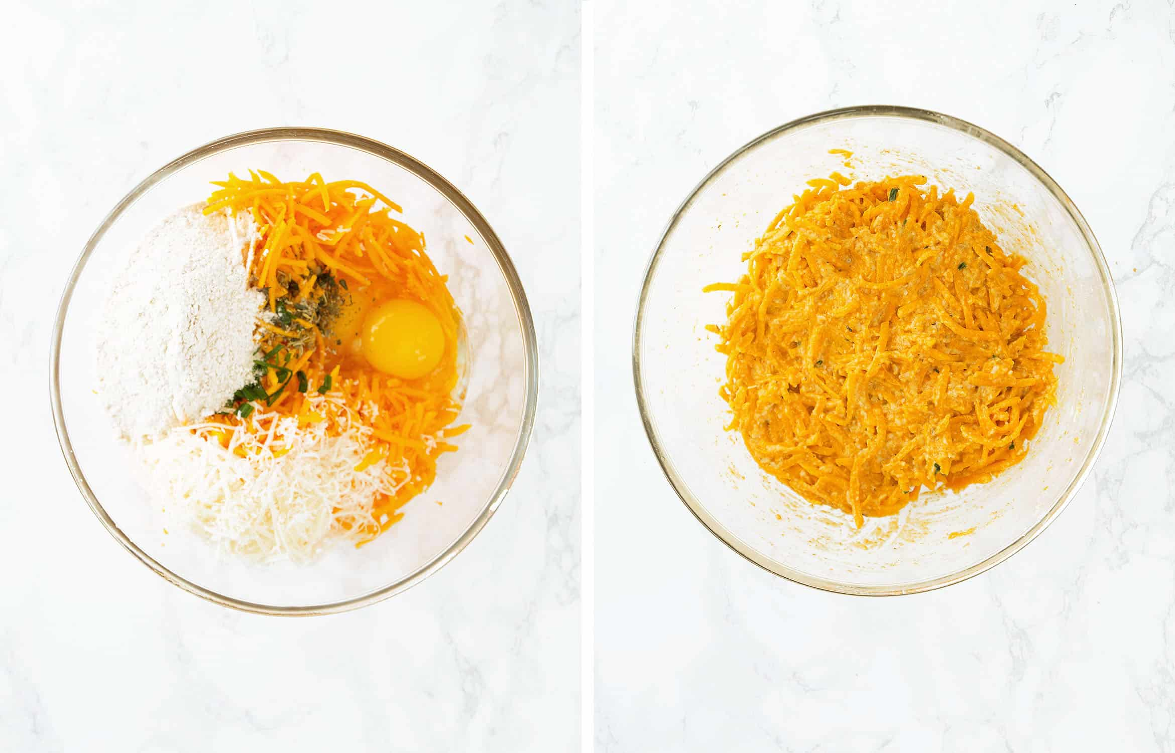 The ingredients for the butternut squash fritters are in a glass container over a white background.