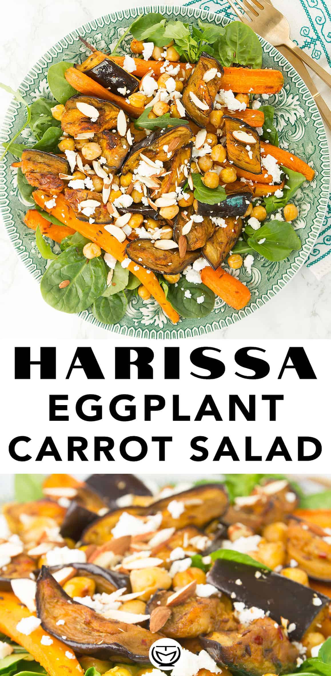 This sheet pan harissa eggplant and carrot salad is full of delicious flavors and textures. The sweetness of roasted eggplants and carrots is enhanced by the spicy harissa, while the tangy feta and lemon juice balance out all the flavours perfectly. You will love it! #mealprep #harissarecipes #sheetpandinners #vegetarianmealprep