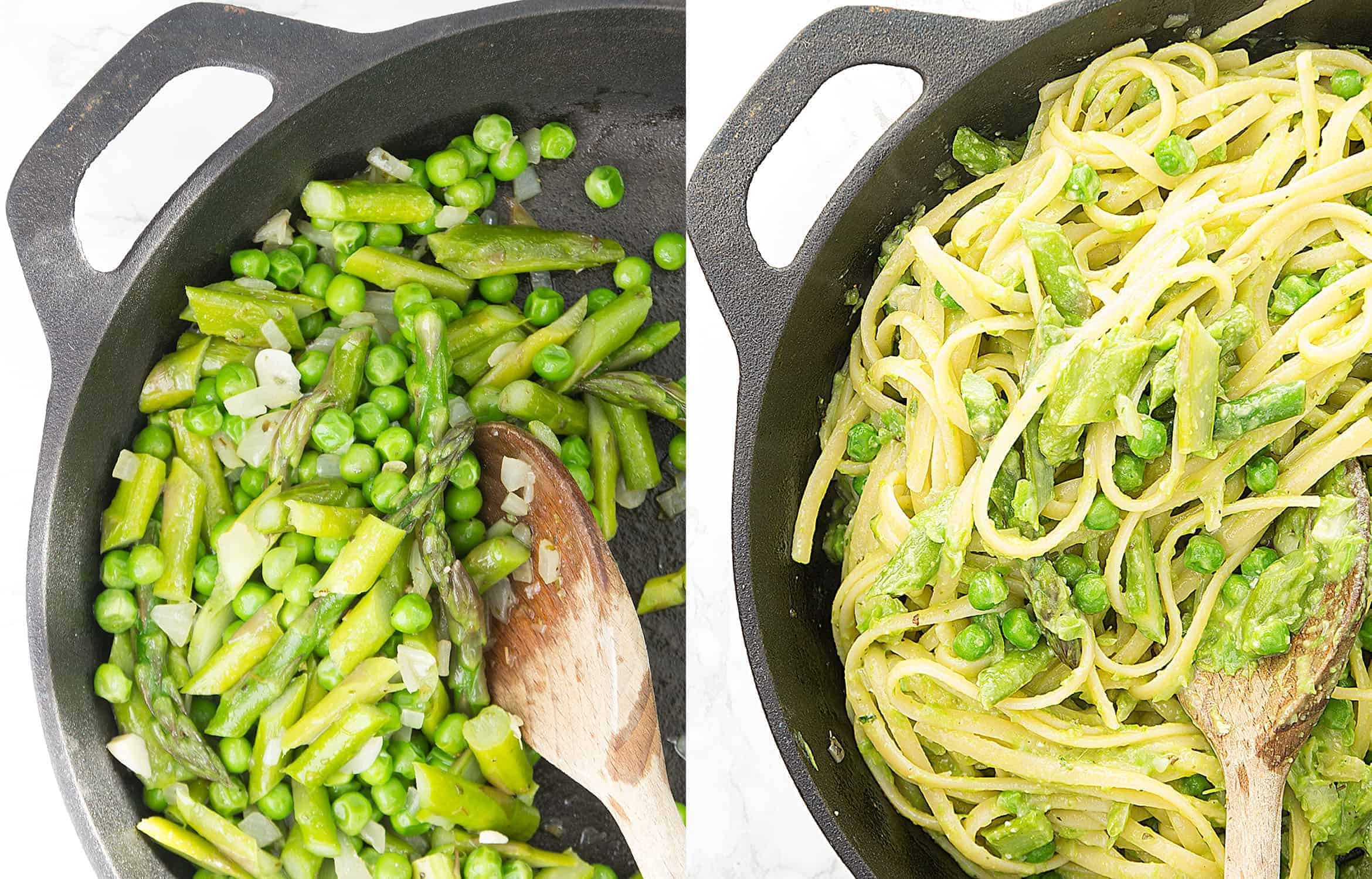 This creamy and succulent pea and asparagus pasta is easy, elegant and delicious. A light recipe perfect for a last minute spring gathering!
