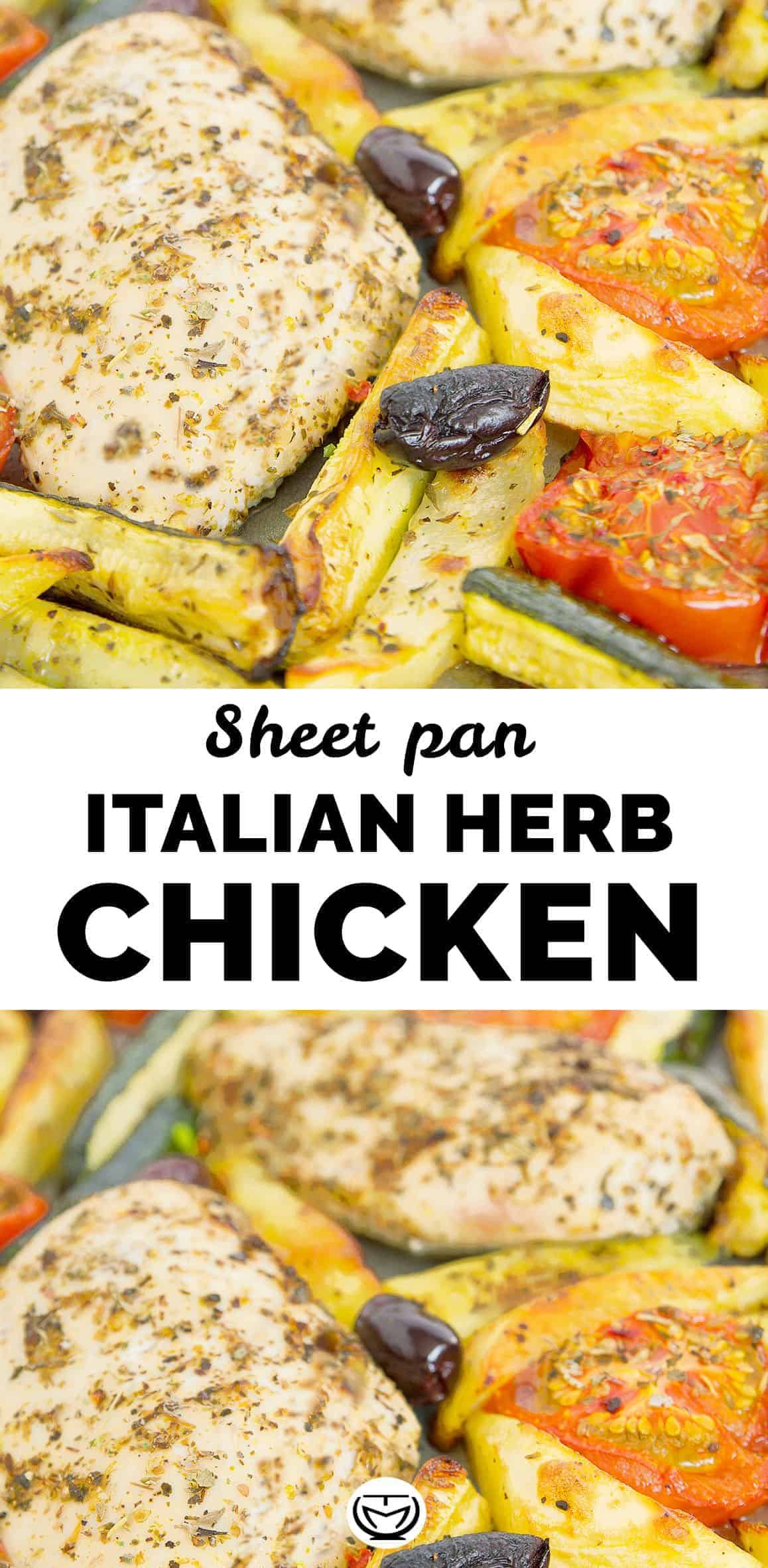 The juicy chicken breasts are marinated in a Mediterranean marinade with olive oil, garlic and plenty of aromatic herbs then roasted to perfection for about 15 minutes. This sheet pan Italian herb chicken is simply delicious, juicy and fork-tender. It keeps very well in the fridge and makes a perfect meal prep even if you can't reheat it. #sheetpandinners #mealprep #Italianrecipes #light