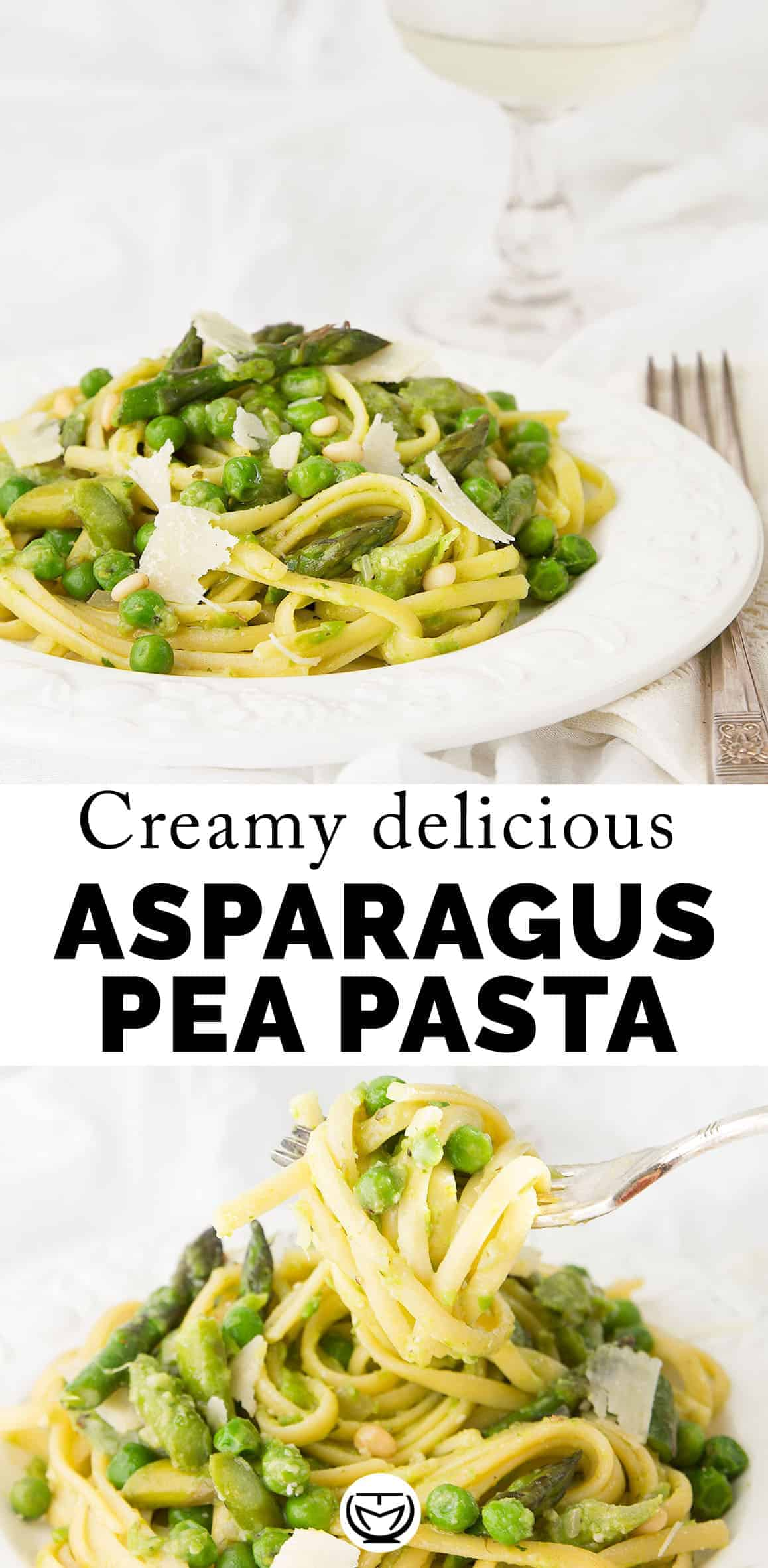 No butter, no cream or other unnecessary fat in this recipe, the starchy peas and the asparagus make all the trick. This is an easy, elegant and succulent pea and asparagus pasta ready in no time, ideal for last minute spring gathering! #asparagusrecipes #pastarecipes #easydinnerrecipes #peapasta #easter