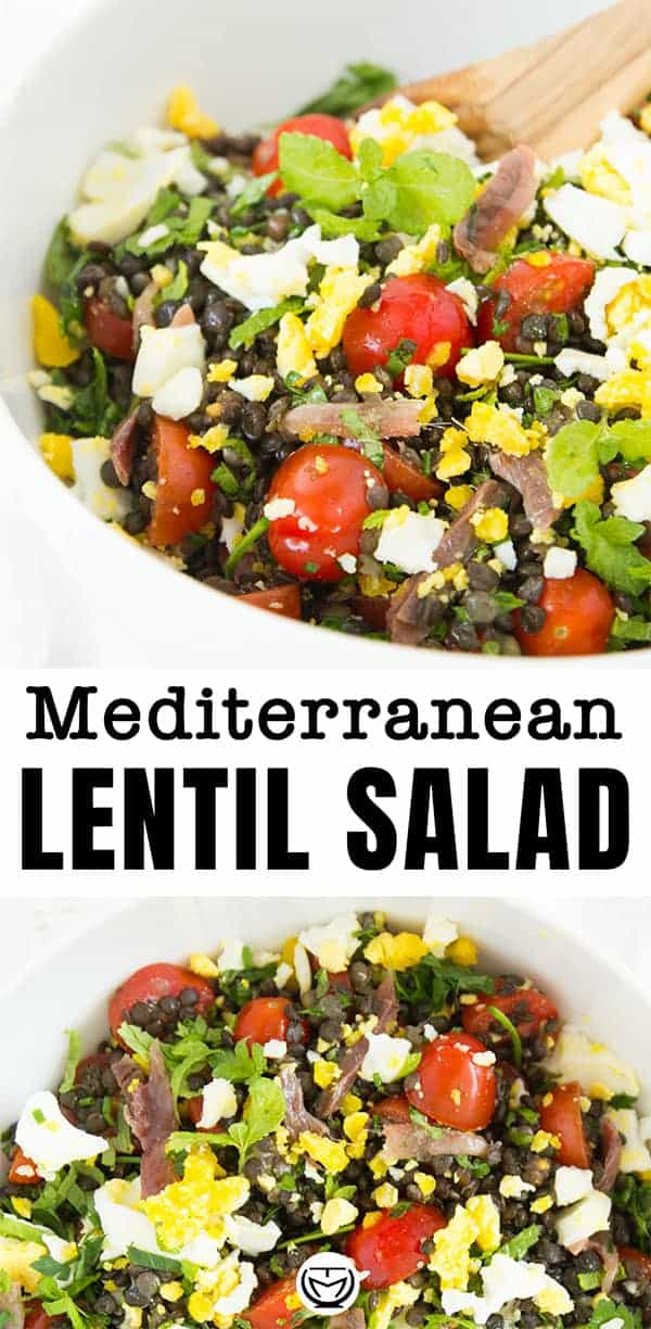 This is an eye-catching Mediterranean puy lentil salad, which is beyond delicious.