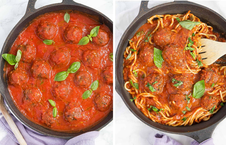 Cook your vegan meatballs in Italian tomato sauce and stir in spaghetti