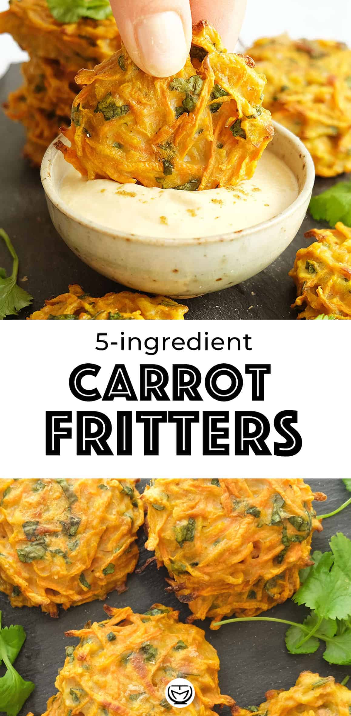 Vegetable fritters, especially carrot fritters, are a staple for my family. They are so simple to put together: 5 inexpensive and healthy ingredients and 30 minutes of prep time. They make a light and kid-friendly meal and a tasty vegetarian appetizer! #carrotrecipes #fritters #appetizers