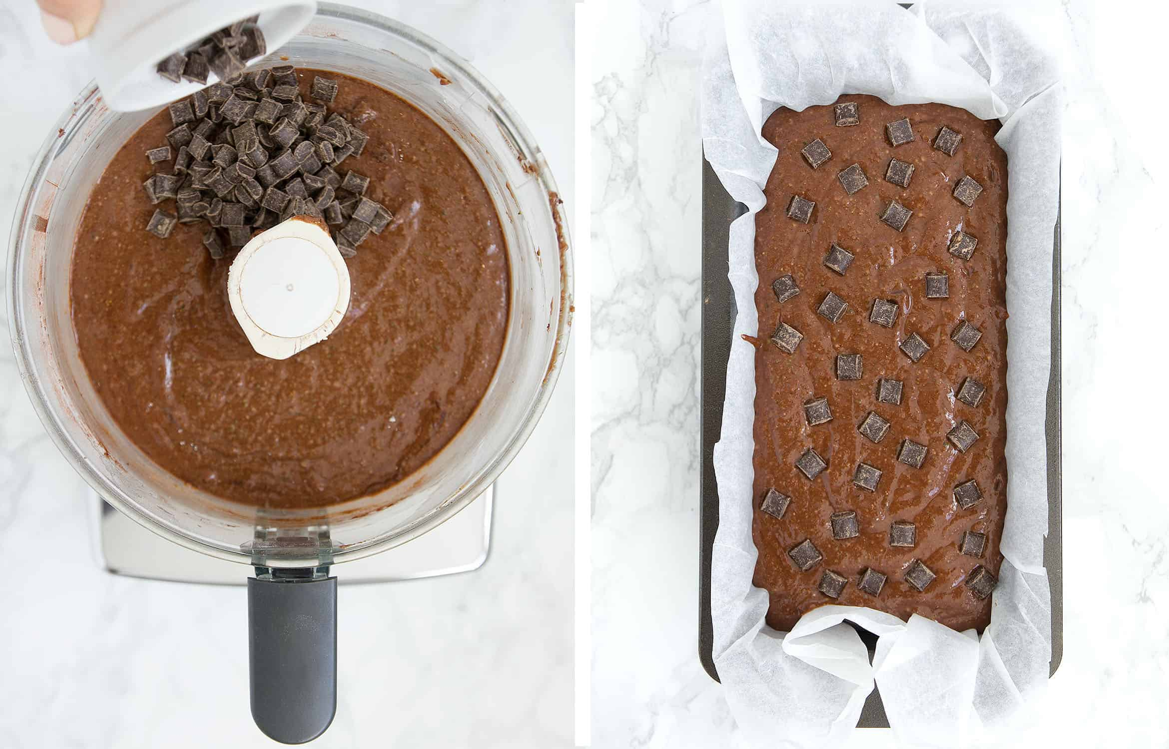 The first image shows the addition of chocolate chips white the second one shows the batter in a loaf pan.