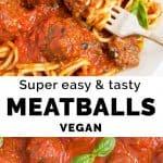 Close-up of vegan meatballs in Italian tomato sauce.