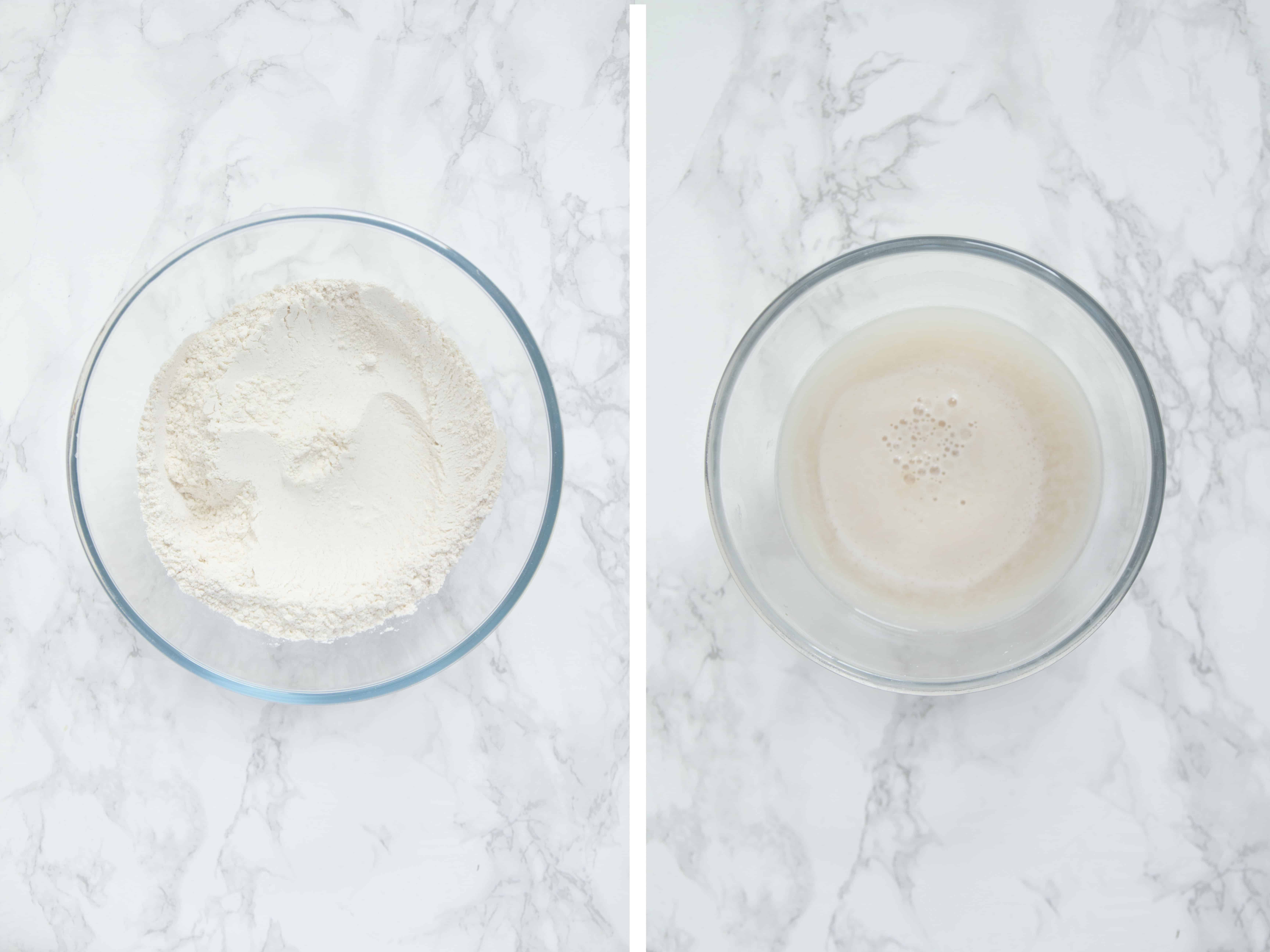 Flour in a glass bowl and water, yeast and sugar dissolved in a second glass bowl.