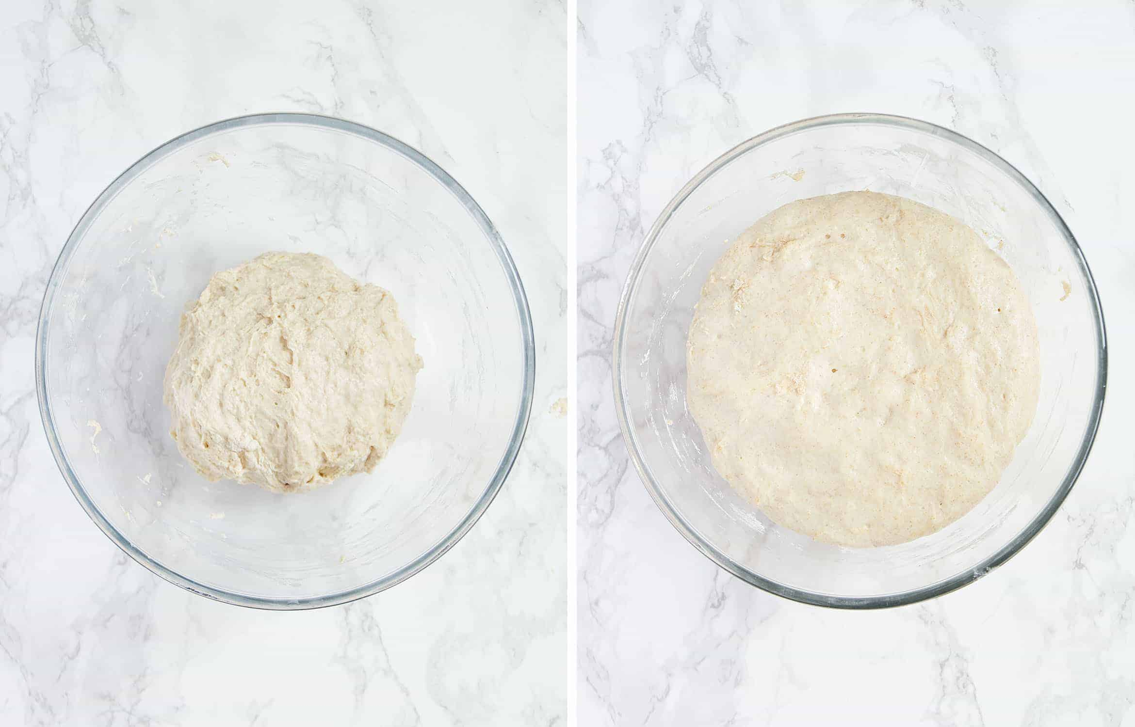 Two images show the dough before and after the rest in the warm oven.