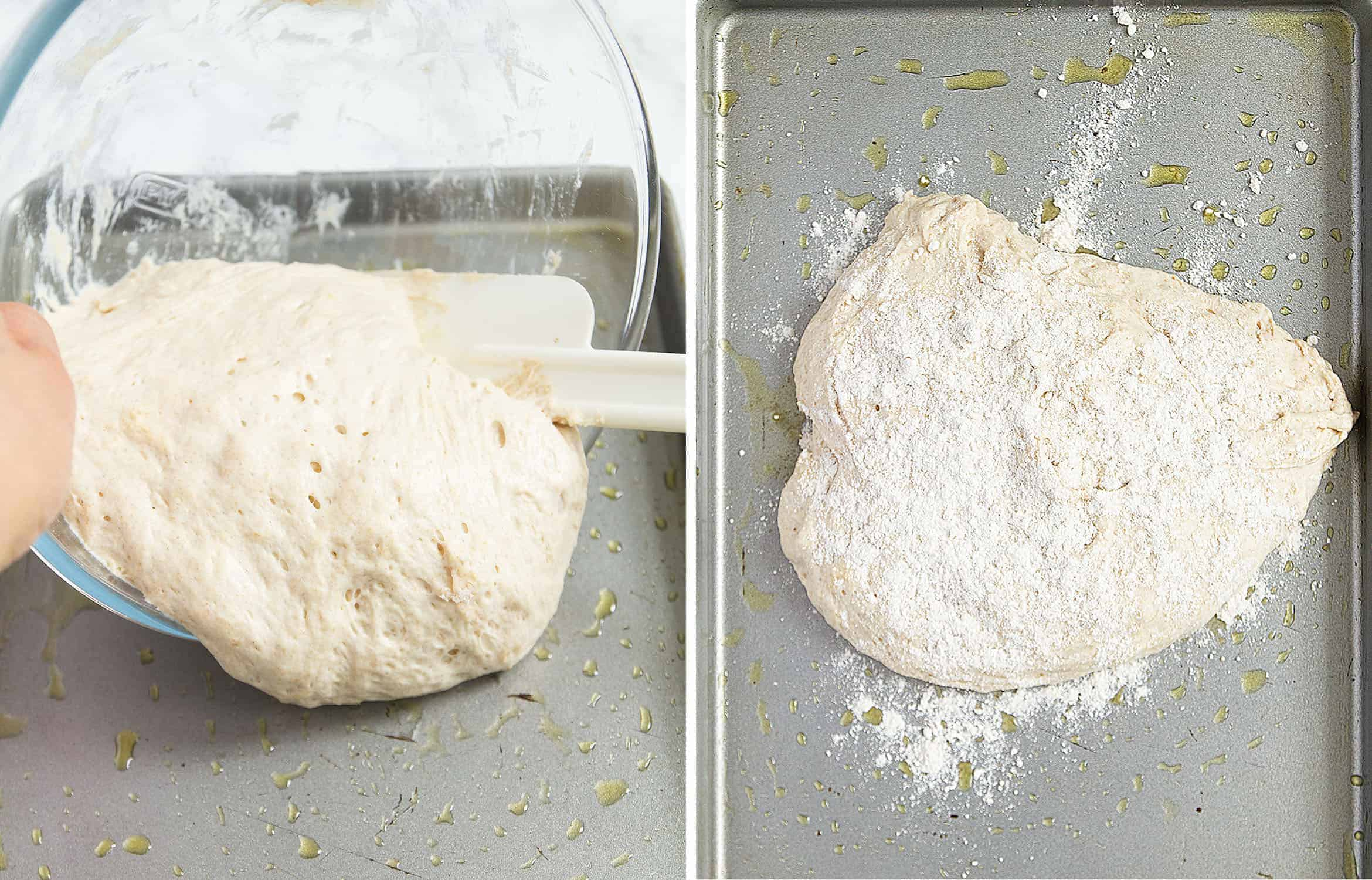 The dough is poured on a baking tray and dusted with flour.
