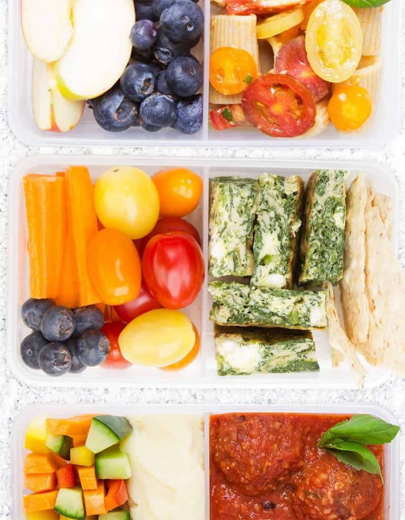 Top view of meal prep containers with healthy lunch ideas perfect for school.
