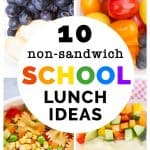 Close-up of 4 different lunch box ideas for school.