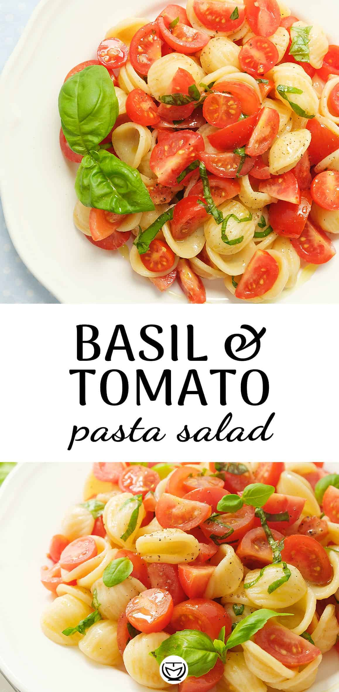 Delicious tomato pasta salad with fresh basil.