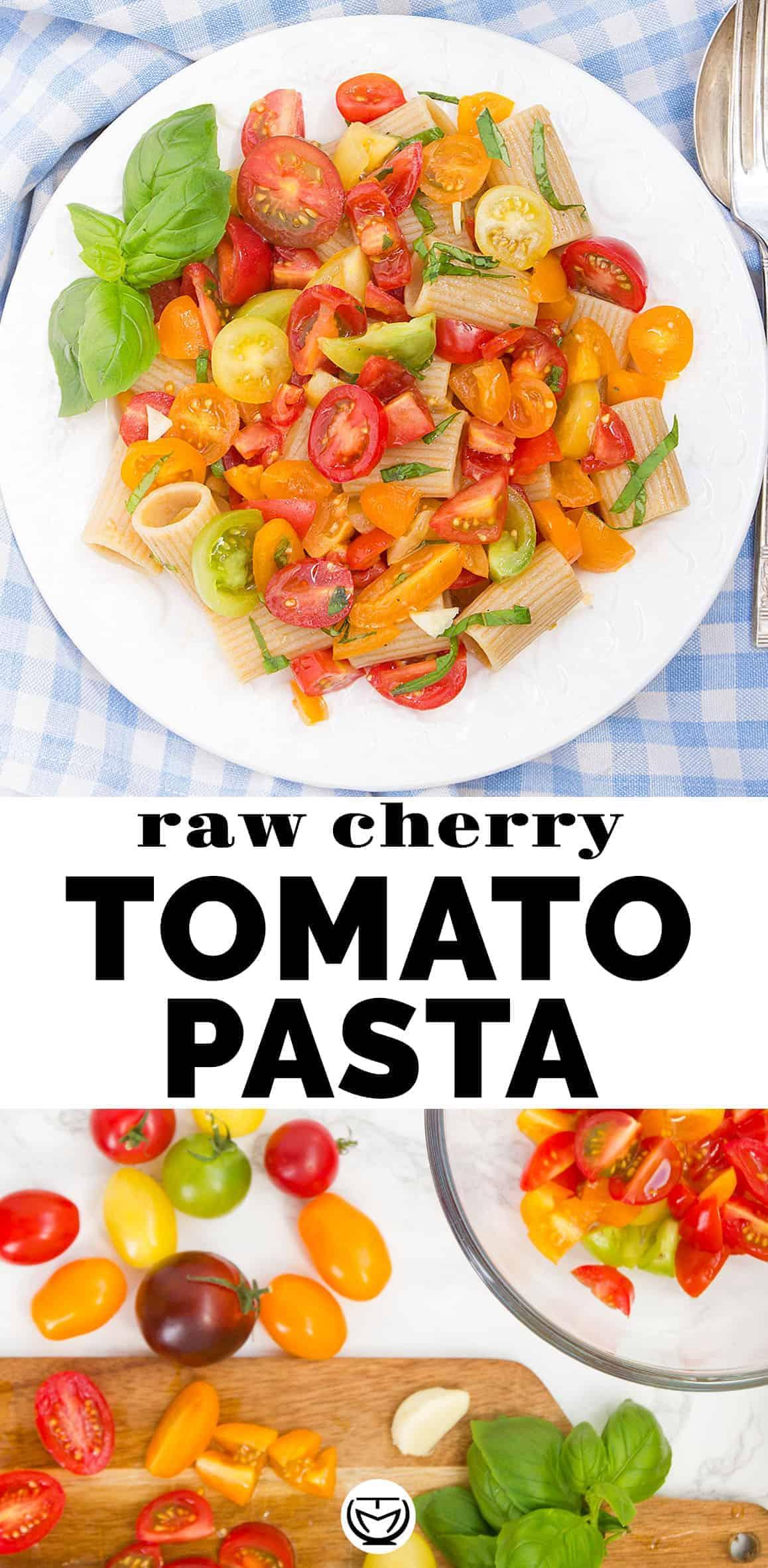 The best vegan raw cherry tomato pasta ready in 10 minutes!
