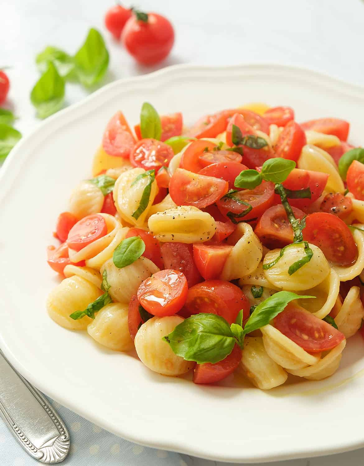 Tomato pasta salad with fresh basil leaves on a white plate.