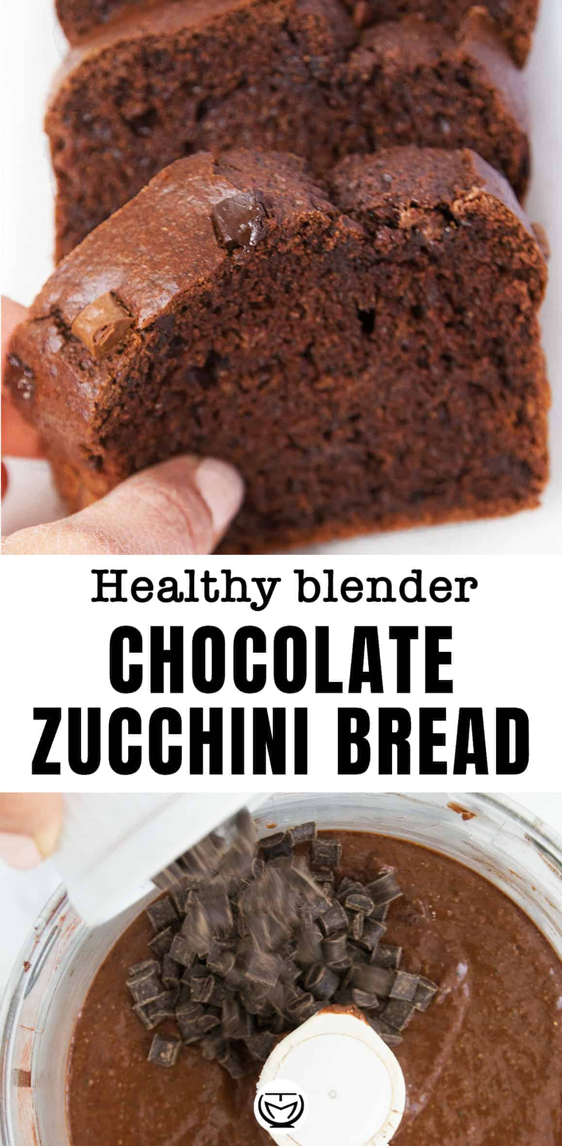 This healthy blender chocolate zucchini bread is low in sugar and packed with whole wheat flour and unsweetened cocoa powder.