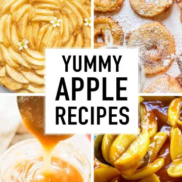 Four images showing four different apple recipes.