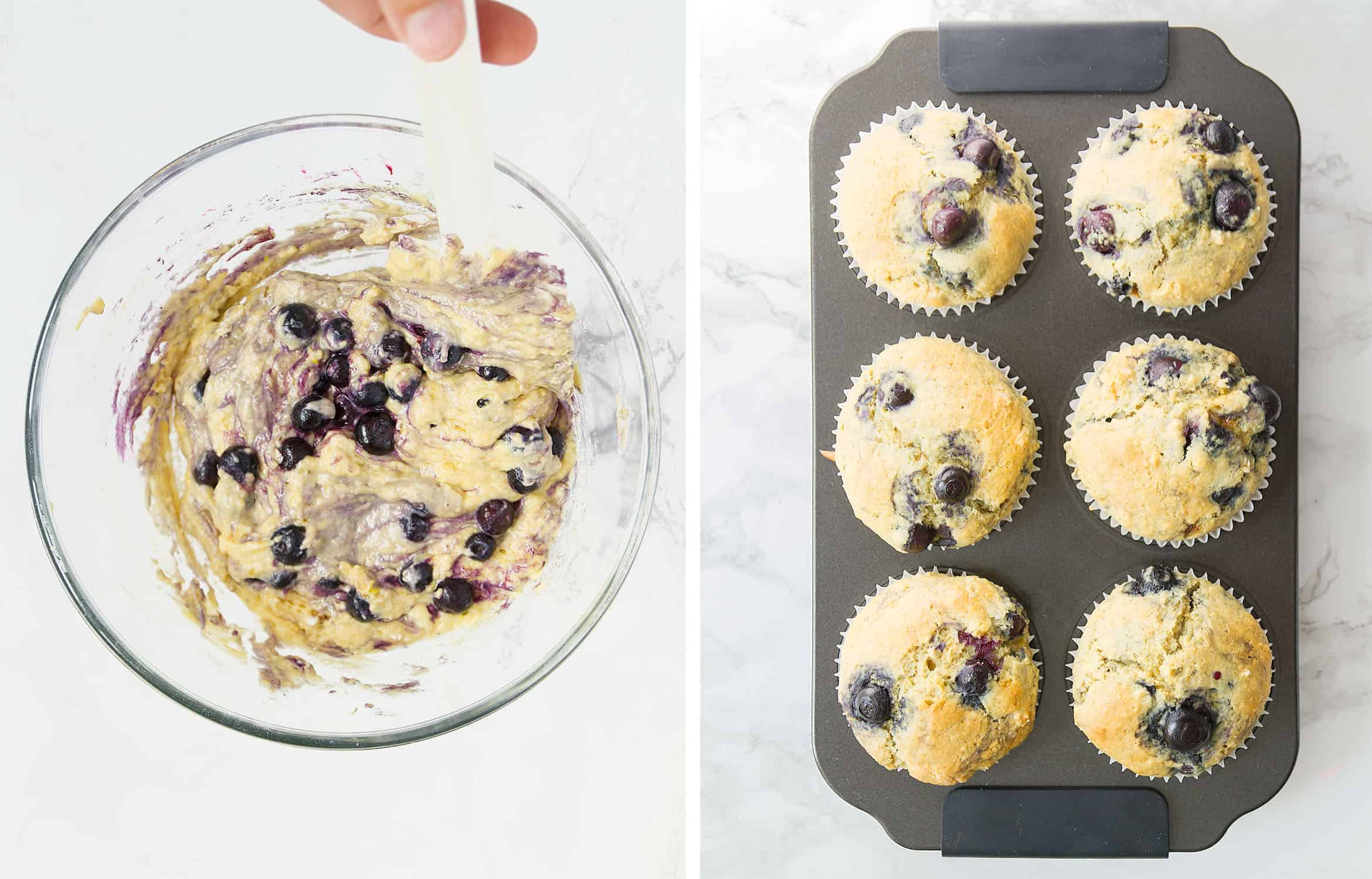 A spatula mixing the muffin batter in a glass bowl and then six muffins into a muffin tray.