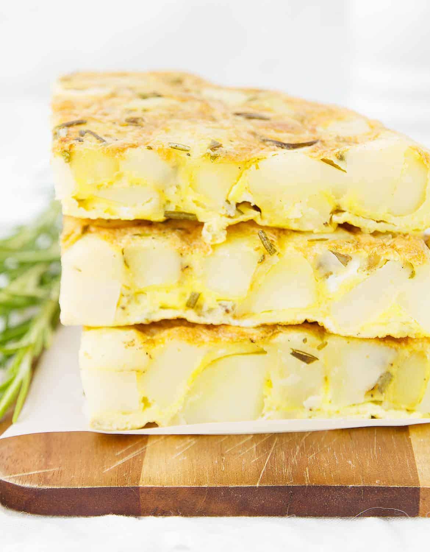 Italian potato frittata with cheese and rosemary.