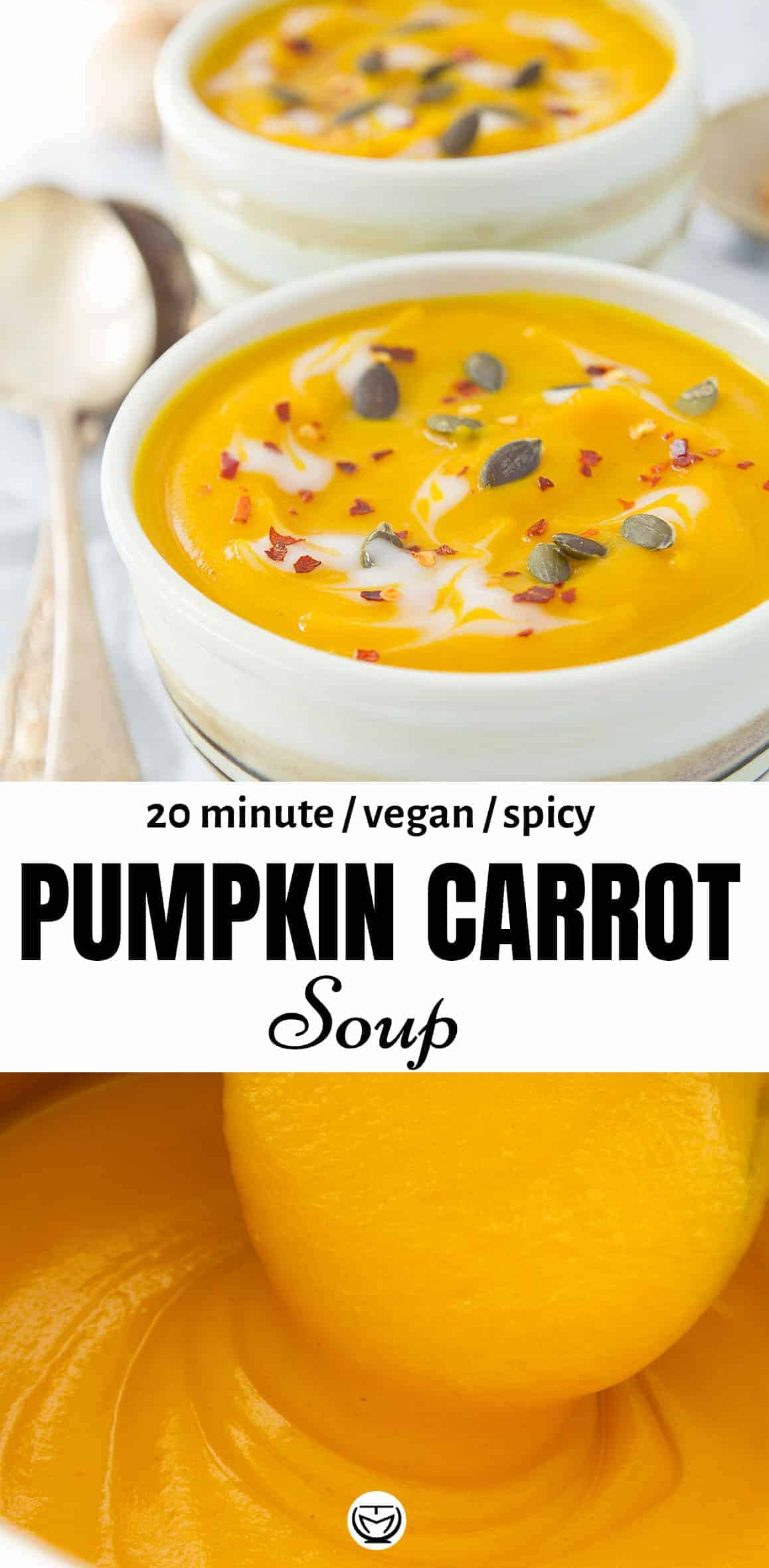 This silky and healthy spicy pumpkin carrot soup tastes delicious and comes together in 20 minutes!