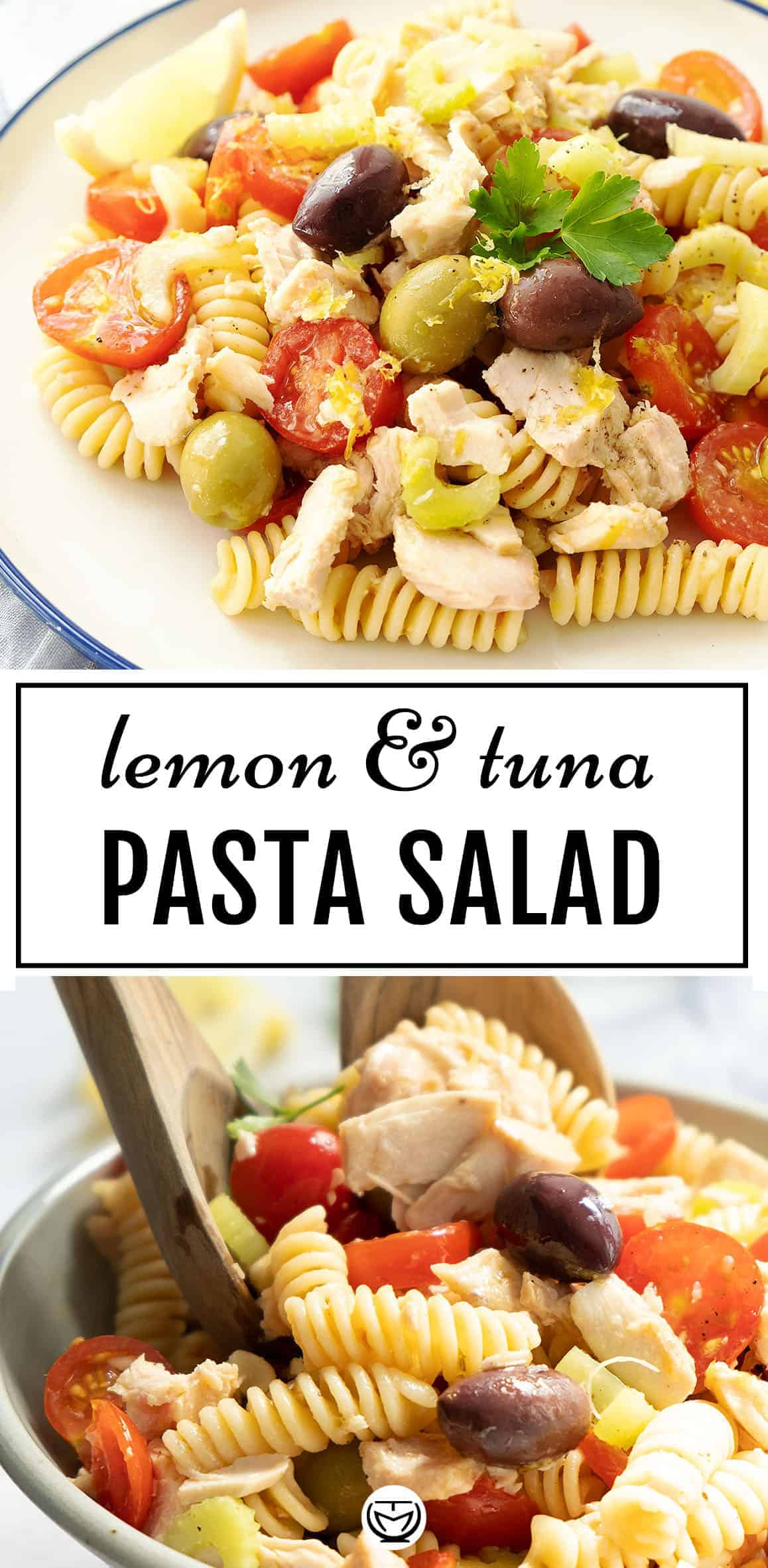 This delicious tuna pasta salad with lemon is light, fresh, packed with flavor, and ready in no time. #pastarecipes #pastasalads