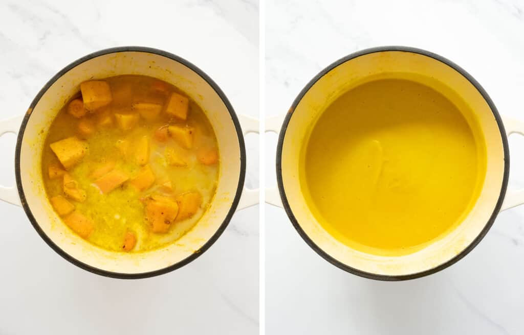 Top view of a white pot with pumpkin and carrot soup