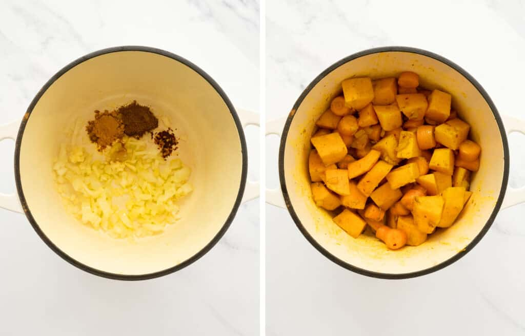 Top view of a white pot with diced onions, spices , pumpkin and carrots.