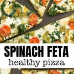 Slices of spinach pizza with feta and cherry tomatoes over a black background.